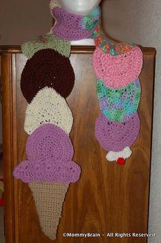DIY- Crocheted Ice Cream Cone Scarf