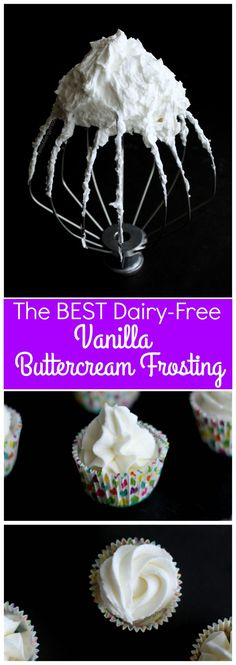 Dairy free buttercream frosting recipe, easy and vegan . Perfect for decorating. A must for food allergy baking. Dairy free buttercream frosting recipe, easy and vegan . Perfect for decorating. A must for food allergy baking. Dairy Free Baking, Dairy Free Diet, Vegan Gluten Free, Dairy Free Cakes, Lactose Free Desserts, Dairy Free Vanilla Frosting, Vegan Frosting, Vanilla Buttercream, Buttercream Recipe