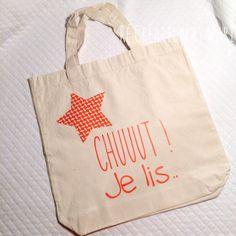 """Tote Bag Enfant Bibliothèque """"Chut je Lis"""" Coloris Orange : Autres sacs par re-creation-by-mari"""