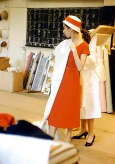 1957 Models Look in mirror new Christian Dior collection