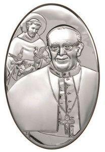 Srebrny obrazek z wizerunkiem Papieża Franciszka, w tle postać Świętego Franciszka, stanowi doskonały prezent dla młodej pary z okazji ślubu. #komunia #chrzest #rocznica