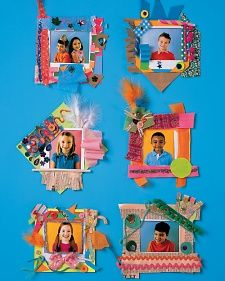 Individual photos mat on card stock decorate around it with a variety of collage material