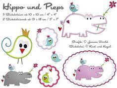Spenden für Harambee Stickdateien Hippo und Pieps von kindundkegel-shop auf DaWanda.com