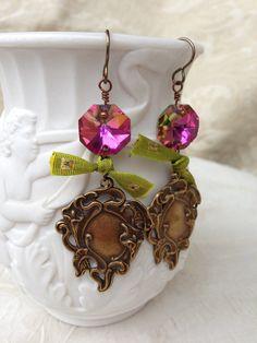 ❥ Pink Chandelier Crystal Royal Crest Earrings. Vintage. Bohemian. Romantic. Gypsy. Pink. Green.