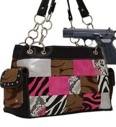 Khaki and Pink Fashion Signature Conceal and Carry Purse