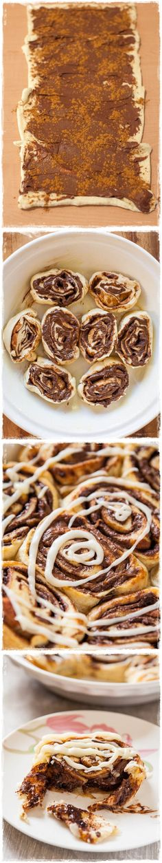 Nutella Cinnamon Rolls with Vanilla Glaze