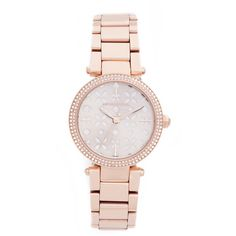 Michael Kors Mini Parker Watch ($250) ❤ liked on Polyvore featuring jewelry, watches, snap jewelry, michael kors jewelry, michael kors, snap button jewelry and water resistant watches