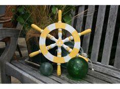 Ship Wheel Wall Mount 16 Yellow White Nautical Decor