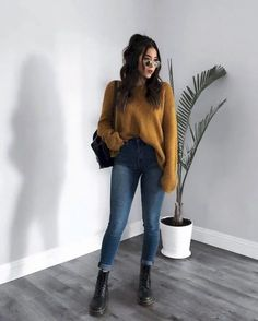 49 Trending Fall Outfit Ideas to Get Inspire – Jeans – Style & Look 49 inspirierende Top-Herbst-Outfit-Ideen – Jeans – Style & Look – # Herbst # Jeans Winter Fashion Casual, Fall Fashion, Casual Fall, Winter Fashion Women, Winter Outfits Women, Fashion 2016, Fashion Edgy, Cute Winter Outfits Tumblr, Hipster Fall Outfits