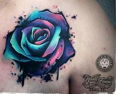 3D water color rose tattoo