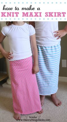 Girls jersey knit cotton Maxi Skirt Tutorial with fold-over waist band. You could probably copy this to make a woman's skirt (with different measurements, of course).