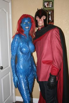 Magneto & Mystique... Though it's pretty clear who out the effort into their costume (dude, that's th he best you could do?)