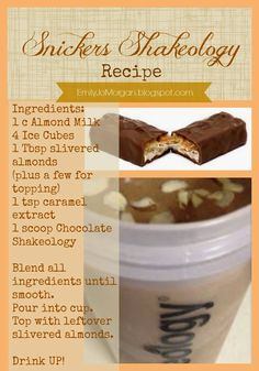 Snickers Shakeology Recipe! Yummy!! emilyjomorgan.blogspot.com?utm_content=buffer8b152&utm_medium=social&utm_source=pinterest.com&utm_campaign=buffer #shakeology #recipe #candybarheaven