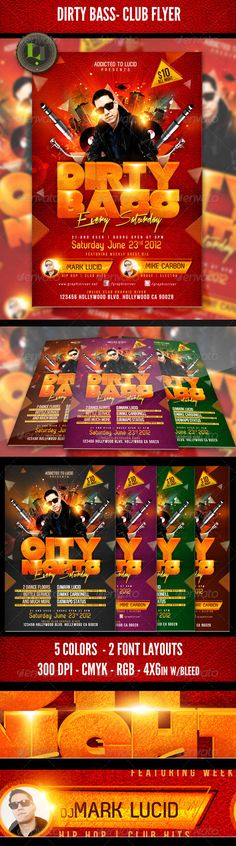 Dirty Bass Club Flyer — Photoshop PSD #bass #headliner • Available here → https://graphicriver.net/item/dirty-bass-club-flyer/2291931?ref=pxcr