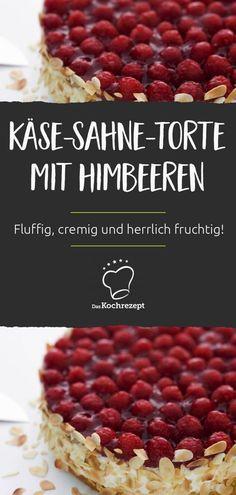 Mit Himbeeren als Topping wird deine Käse-Sahne-Torte noch leckerer und richtig schön fruchtig! Unter den Himbeeren verbirgt sich fluffiger Biskuit und eine herrliche Sahne-Quark-Creme. Genuss pur! #daskochrezept #käsesahnetorte #himbeeren #torte #käsetorte #sahnetorte #biskuit #geburtstag #backen Red Fruit, Dessert, Sweet Recipes, Creme, Raspberry, Breakfast, Food, Biscuit, Bakken