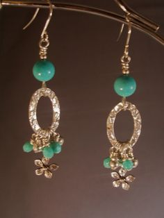 Spring Earrings Turquoise and Silver by beadifulexpressions, $20.00  #fashion #trending #spring #mint #earrings