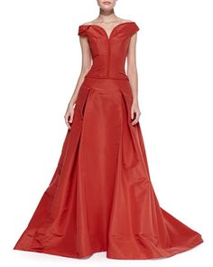 Off-the-Shoulder Faille Ball Gown, Lipstick Red by Carolina Herrera at Neiman Marcus.