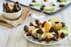 Sea Salt Chocolate-Dipped Fruit Snacks by sheknows #Snack #Fruit #Chocolate #Healthy