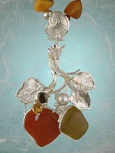 Necklace 3958, one of a kind necklace, solid gold and sterling silver, seaglass, carnelian, garnet, citrine, pearl