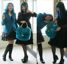 Modeling Gloomth Gothic Lolita Victorian dresses at One King West hotel in Toronto. See all the alternative model girls: http://www.lacarmina.com/blog/2014/05/gloomth-gothic-lolita-models-fashion-brand-canada/  blue hair girls, gothic lolita hairstyle