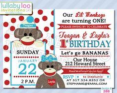 Sock Monkey Birthday Invitations Twins (208) | Set of 12 Printed Invitations on Etsy, $18.00