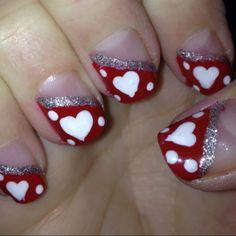 Heart nail art, heart nails, nail art tips, nail ideas, nail Sassy Nails, Love Nails, My Nails, Pretty Nails, Valentine Nail Art, Holiday Nail Art, Heart Nail Art, Heart Nails, Heart Nail Designs