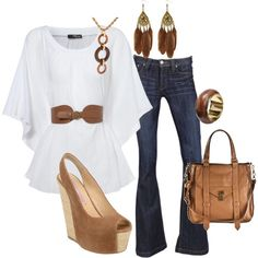 white top, jeans, brown accessories
