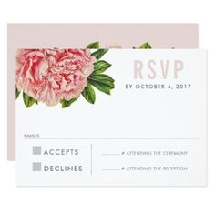 #wedding #responsecards - #RSVP REPLY RESPONSE chic pink floral peony flower Card