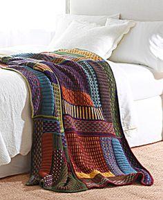 Knit Kit: Slip Stitch Sampler Throw from Lion Brand Yarn