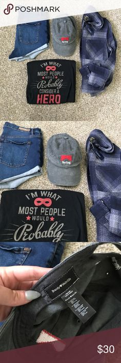 Brandy Melville Darling RARE NWOT baseball cap I am what most people would consider a hero (or darling)! 💕 Match the Brandy Melville basic grey heather Darling baseball cap with this graphic rooster teeth shirt, Garage high waisted dark wash shorts, and Forever 21 NWT blue plaid washed grey flannel. 💕💕💕 one size :: make offers! Brandy Melville Accessories Hats