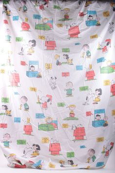 """Peanuts Gang Vintage 1971 Cotton Twin Fitted Sheet """"Love Is"""" Theme Snoopy Charles Schultz by ThePinkRoom"""