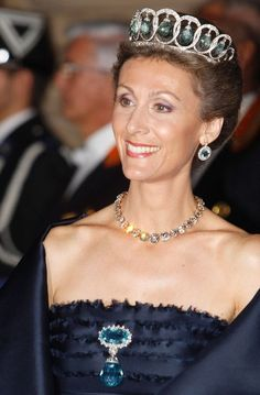 Sibilla princess of Luxembourg - with the remodeled Ansorena aquamarine tiara that had belonged to her great grandmother, Q Victoria Eugenia of Spain.