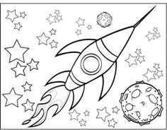 A rocketship flies by a planet and through the stars in this printable outer space coloring page.