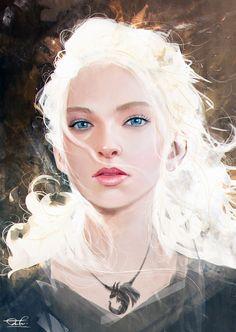 Light Study - Daenerys Targaryen Fan Art By Kittichai Reaungchaichan Character Portraits, Character Art, Weiblicher Elf, Fan Art, Daenerys Targaryen Art, Khaleesi, Elfen Fantasy, Light Study, Digital Art Girl