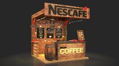 Nescafe Coffee Booth on Behance Food Stall Design, Food Cart Design, Food Truck Design, Kiosk Design, Cafe Design, Booth Design, Store Design, Wein Parties, Food Kiosk