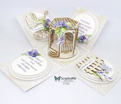 ScrapAndMe: Ślubny exploding box/Wedding exploding box Exploding Boxes, Wedding Boxes, Shadow Box, Place Cards, Delicate, Place Card Holders, Explosion Box