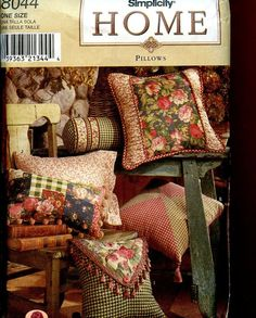 Simplicity Home Decor Sewing Pattern Pillows in 12 Styles #McCall