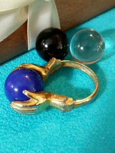 Vintage Signed Crown Trifari Chameleon Interchangeable Ring With 3 Orbs 1960's #Trifari