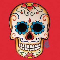 Caveira Mexicana Mais Pintura Sugar Skull, Sugar Skull Painting, Sugar Skull Crafts, Sugar Skull Art, Mexican Skulls, Mexican Art, Tattoo Mexicana, Desenhos Old School, Dessin Old School