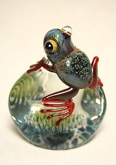 Frog paperweight glass. OK, you got me, this is rather cute as well as being a…