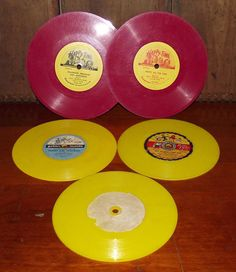 Vintage Red and Yellow Vinyl Records