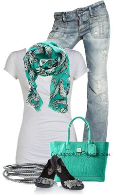 """Teal & Gray Contest"" by cindycook10 on Polyvore"