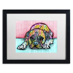 """Trademark Art 'Lying Boxer' by Dean Russo Framed Graphic Art Matte Color: White, Size: 16"""" H x 20"""" W x 0.5"""" D"""