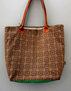 Ethnic Brown Large Shweshwe Shopper Bag - Green Base - Handmade in South Africa with Love! by MathildeAndCo on Etsy