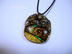 Old Mill Creek gold & turquoise polymer clay jewelry resin pendant necklace One of a Kind handmade by LynzCraftz on Etsy