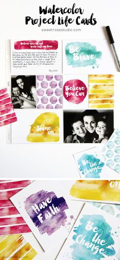 Free Watercolor Project Life Cards, Complete With Inspirational Messages | Sweet Rose Studio: