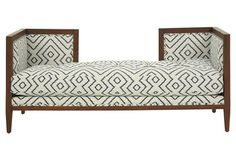 Dixon Linen Bench, White/Navy