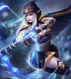 Ashe【League of Legends】 Lol League Of Legends, Akali League Of Legends, League Of Legends Characters, Fantasy Female Warrior, 3d Fantasy, Fantasy Women, Fantasy Girl, Fantasy Artwork, Warrior Women