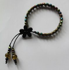 Seed Bead  Jump Ring Braided Flower Button Bracelet £8.00