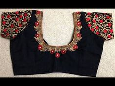Blouse work designs 22 Graceful Pics of simple thread work blouse & Saree designs Traditional Blouse Designs, Simple Blouse Designs, Stylish Blouse Design, Mirror Work Blouse Design, Saree Blouse Neck Designs, Sari Blouse, Blouse Designs Catalogue, Designer Blouse Patterns, Blouses